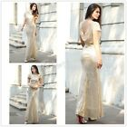 Sequin Golden Bridesmaid Formal Evening Cocktail Prom Party Gown Dress Mermaid