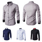 Grid-line Style Men Casual Business Slim Fit Long Sleeves Shirt Collar Cardigan