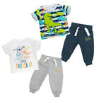 Baby Boys Jogger And T-shirt Set Two Styles Bold Dinosaur Theme Newborn To 9-12M