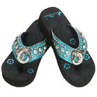 Montana West Women's Hand Beaded Flip Flop Sandals Turquoise Horseshoe Bling