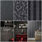 ARTHOUSE GLITTERATI BLACK WALLPAPER GLITTER FEATURE WALL - PLAIN, SCROLL, STRIPE