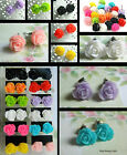 ROSE EARRINGS FLOWERS STUDS PIERCED RESIN 12MM OR 10MM  KITSCH KAWAII