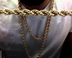 """Rope Chain Necklace 8mm 20"""" 22"""" 24"""" 26"""" 30"""" 14k Gold Plated"""