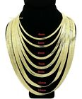 "Herringbone Chain 14K Gold Plated 4mm to 14mm 18"" 20"" 24"" 30"" Necklace"