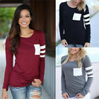 Woman Fashion O-neck Long-sleeved Splice Tops Casual Loose T-shirt Blouse LAUJ