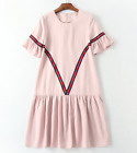 K2017 occident short sleeves pink clever lady dress simple elegantly S M L XL