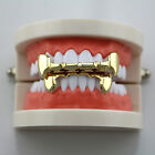 14K Gold Plated Hip Hop Teeth Grillz Top Fangs Bottom Grill Set *HIGH QUALITY*