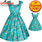 RKL56 Lady Vintage London Classic Flamingo 50s Dress Retro Vintage Rockabilly