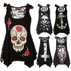 Summer Women Skull Print Loose Lace Patchwork Casual Sleeveless Tops Shirt S-5XL
