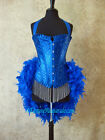 Blue Crystal Moulin/Saloon/Showgirl/Carnival/Circus Burlesque Costume Feather