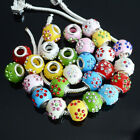 Flower Rhinestone Big Hole Spacer European Beads Fit Charms Bracelet DIY Jewelry
