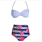 Vintage Roses Women Bikini High Waisted Bow Pin Up Swimwear Beach Bikini