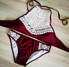 Vintage Lace wine Women Bikini High Waisted Bow Pin Up Swimwear Beach Bikini