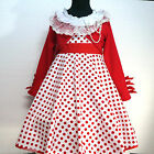 Reds White Christmas Party Flower Girls Dresses + Cardigan SIZE 2,3,4,5,6,8,10T