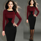 Womens Peplum Business lattice wear Pencil Dress Formal Midi Bodycon Dresses AB