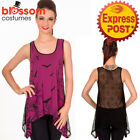 RKN12 Banned Emo Punk Gothic Skull Bats Birds Lace Back Vest Top Wine Red Black