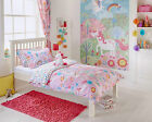 Unicorn Design Duvet Set & Curtains in Pink Cot Bed Single Double Wall Art