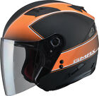 Gmax OF77 Classic Open Face Motorcycle Helmet Flat Black/Orange Adult All Sizes