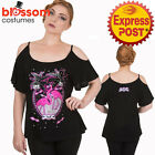 RKN72 Banned Flamingo Skull Goth Top Shirt 50s Vintage Retro Rockabilly Pin Up