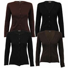 Ladies Cardigan Womens Button Long Sleeved Plain Crew V Neck Top Fashion Summer