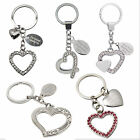 Engraved Diamante Heart Keyring Silver Metal Key ring Personalised Gifts