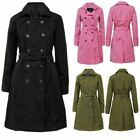 New Womens Trench Button Ladies MAC Double Breasted Belted Coat Jacket