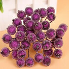 40pc/bunch Artificial Holly Berry Flower Bouquet Mini Foam Frosted Fruit Party D