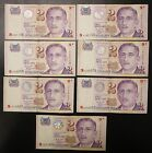 7 Singapore $2 Two Dollars Banknotes, Year 2000 Y2K Millennium commemorative