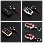For Changan Remote Key Fob Cover Aircraft Aluminum Case Genuine Leather Chain
