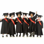 Graduation Black Gown Sash & Cap fancy dress school 3-5 & 5-7yrs Boys Girls Kids