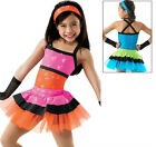 NEW 'Say Hey' Jazz Tap Hip Hop Dance Competition Costume Pink Orange Black