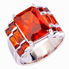 Wedding Engagement Red Garnet Fashion Jewelry Women Silver Ring Size 6 7 8 9 10