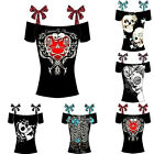 Women's Fashion Off Shoulder Boat Neckline Bandages Skull Print Cotton T-shirt