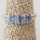 Natural Light Blue Sapphire and Diamond Ring 10k White Gold