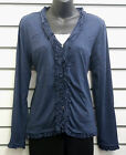 %SALE% BOHEMIA SWEDEN NAVY MARL LONG SLEEVED BUTTON CARDIGAN RUFFLE DETAIL NWT
