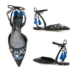 Womens Tassel Rivet Shoes Roman Sandals Pointed Toe Ankle Strapy Pump Slingback