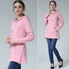 New Maternity Clothes Breastfeeding Tops With Hoodie Casual Nursing Tops Grey