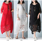 Uk Summer  Womens Oversized Vintage Casual Baggy Maxi Long Shirt Party Dresses