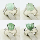 Green Aventurine Gemstone Unique Jewelry Silver Plated Men Women Ring Size 6-10