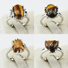 Tiger Eye Gemstone Fashion Unique Jewelry Silver Plated Men Women Ring Size 6-10