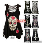 Women Skull Print Loose Lace Patchwork Bandages Casual Sleeveless Tops Cool