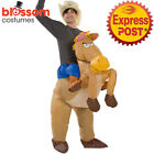 K354 Riding Horse Animal Adult Fan Inflatable Fancy Funny Costume Suit Hat