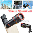 12X Zoom Optical Clip-on HD Telescope Phone Camera Lens For Cell Phones US Ship