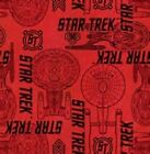 STAR TREK - USS ENTERPRISE ON RED - BY CAMELOT - 100% cotton fabric