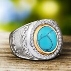 Heavy Men's Ring SOLID STERLING SILVER Natural Turquoise Gemstone Vinatge Ring