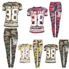 New Womens Ladies Full Top Bottom Sports Army Camouflage New York 98 Tracksuit