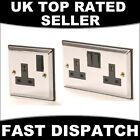 POLISHED MIRRORED CHROME & BLACK INSERT SINGLE & TWIN SOCKET DOUBLE PLUG SOCKETS