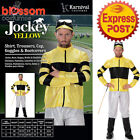CA248 Yellow Jockey Horse Rider Mens Uniform Fancy Dress Sports Costume Outfit