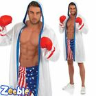 Adult Mens American Boxer Costume Boxing Sport Fancy Dress Outfit