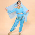Womens New Belly Dance Costumes Set Indian Dancing Dress Clothes Top Pants Veil